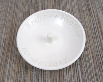 Custom Ring Dish, Hand Made Personalized White Porcelain Wedding Ring Dish, Ring Dish with Names and Date, Wedding Gift, Made to Order