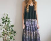 Vintage Indian Cotton 70s Skirt, Purple Skirt, Hippie, Bohemian, Maxi Skirt