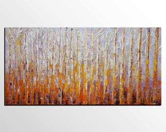 Birch Tree Painting, Large Oil Painting, Canvas Art, Original Artwork, Modern Wall Art, Abstract Art, Contemporary Art, Abstract Painting