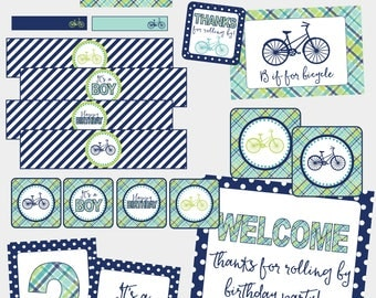 Bicycle Birthday AND Baby Shower Decoration Package. Blue & Green Plaid Bicycle Party Decor. Instant Digital Download. Printable