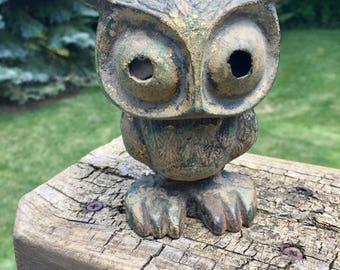 Vintage O.M.C Japan Cast Iron Owl Candle Holder