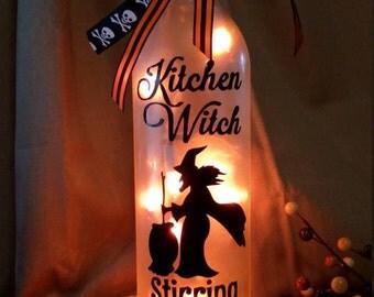 Halloween Kitchen Witch Lighted Bottle/Wine/Decor/Gift/Nightlight/Lamp