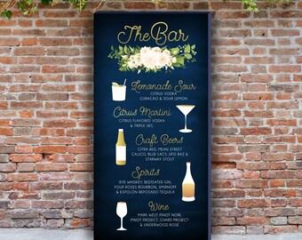 Signature Cocktails Drink Bar Menu Large PRINTED Sign . White Rose Poppy Anemone Eucalyptus Leaf Garland Fern Magnolia Navy & Gold Tropical