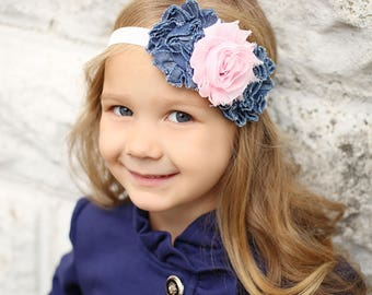 CLOSING SALE!! Girls Denim and Pink Headband, Baby Girls Headband, Country Headband, Denim Headband, Hair Accessory, Denim and Pink Headband