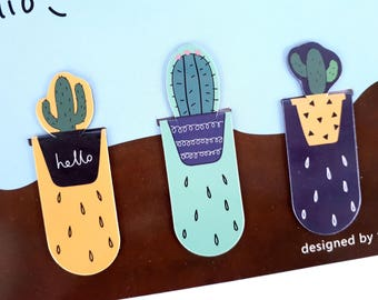 Set of 3 cactus magnetic bookmarks   page markers