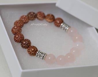 Rose quartz and Heart beads stretch bracelet