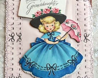 Vintage Birthday Card - Little Parasol Belle Girl to Granddaughter - Used Cardboard Front