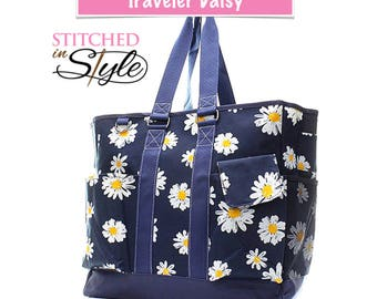 Daisy The Traveler Large Beach Tote Work Tote Travel Tote Bag Gift Custom Embroidery Design Available