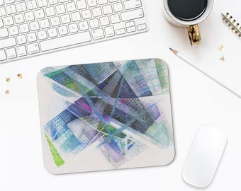 Blue Art Mousepad, Original Design, Gift For Geeks, Abstract Mousepad, Mouse Mat, Computer Accessories, Office Desk Gifts