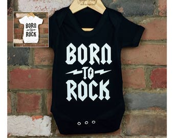 Born to Rock Baby Bodysuit, Bringing Home Baby Outfit, Cool Baby Clothes, New Baby Gifts, Alternative Baby, Rock Star Baby, Heavy Metal Baby