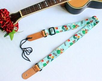 Ukulele strap (ribbon lei flower included)/ Mint green hula girl B / hawaiian fabric /ukulele accessory / instrument strap
