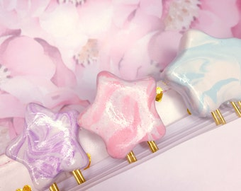 Sweet Kawaii Marble Star Burst Planner Clips /  Handmade Polymer Clay Charm / Planner Accessories