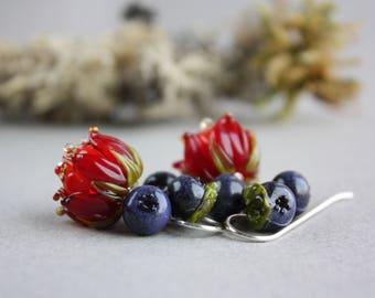 Lampwork earrings with blueberry and red flowers / Berry earrings/ Floral earrings / Artisan glass beads/ Berries jewelry/ Flower earrings