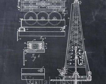 Oil Drilling Rig Patent Print Oil Drill Art Print - Oil Drill Patent Poster - Oil Drill Art - Oil Drilling Art - Oil Derrick