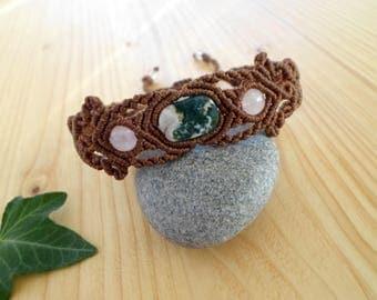 Agate macrame bracelet, macrame armlet, gypsy bracelet, macrame jewelry, hippie bracelet, macrame stone, gemstone bracelet, elven jewelry