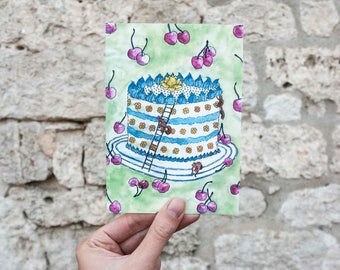 "Postcard ""Birthday Cake"""