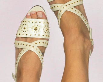 Vintage 80s Gold Studded Strappy Open Toe High Heels