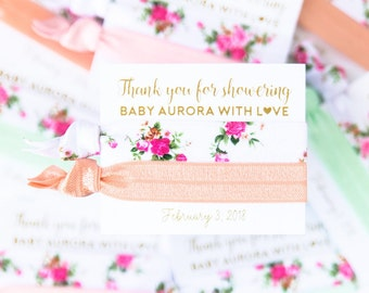 Floral Baby Shower Custom Thank You Hair Tie Favors | Girl Baby Shower Favors, Garden Party, Peach Mint Light Pink White Gold