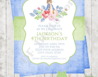 "Custom Printed 4.25X5.5"" Watercolor Boy or Girl Rabbit Birthday Invitations, envelopes included"