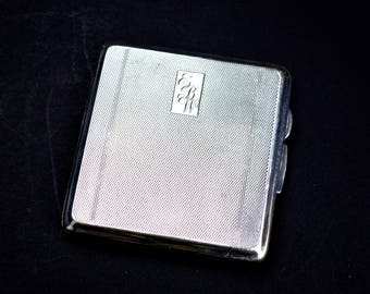 1940s Vintage Silver Cigarette Case Sportsman Cricket Present EBW Monogrammed Machine To The Greatest Sport July 1947 From Your Fielders