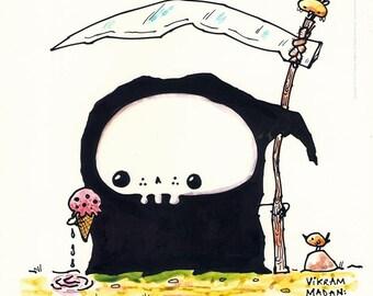 The LAST Ice-Cream - funny Lil' Grim Reaper Print