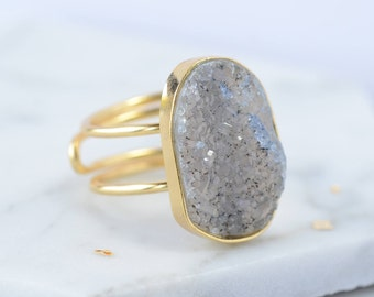 Blue and grey raw crystal ring - bohemian jewellery - sample sale - crystal quartz ring - natural stone ring - adjustable gold ring