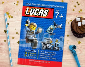 Digital Lego City invitation, Lego thank you tag, Lego police, Lego birthday, Lego printables, Lego CIty birthday party