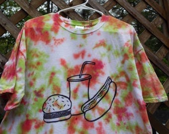 Tie Dye Hamburger Tshirt, Fast Food Shirt, Burger Shirt, Hot Dog T Shirt, Mens Tiedye, Fathers Day Junk Food BBQ Shirt Custom Tiedye for dad