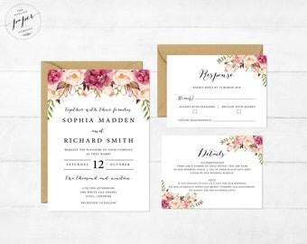 Floral Wedding Invitation Printable Wedding Invitation Suite Rustic Wedding Invite Boho Wedding Invite Peonies Wedding Invite Boho Frame