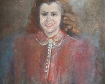 Antique oil painting portrait woman signed