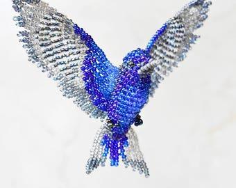 Purple Martin Ornament, Beaded Bird Suncatcher, Swallow Bird Necklace, Window Decor, Bird Room Hanging Decor, Bird Figurine, Bird Lover Gift