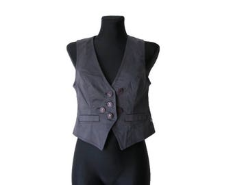 Womens Gray Purple Vest Cotton Formal Waistcoat Medium Size
