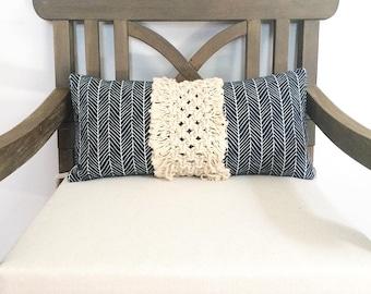 12x22 Macramé Pillow with Long Fringe, Boho Pillow with Macrame Panel, Macramé Home Decor, Decorative Accent Macrame Pillow, Boho Macrame