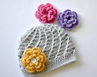 Girls Crochet Hat Baby Toddler Child Grey Hat With Interchangeable Flower