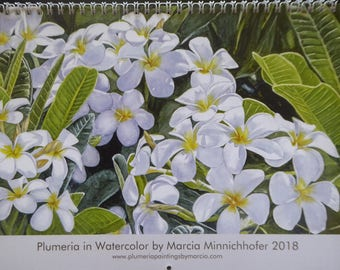 2018 Calendar Plumerias in Watercolor by Marcia Minnichhofer