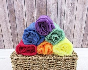 Mini Rainbow Newborn Cheesecloth Wraps, Set of 6 Baby Wraps, Maternity Cheesecloth Wraps