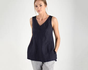 Linen Blouse / Charcoal Linen Tank Top with V Neck / Sleeveless Linen Blouse / Sleeveless Linen Top / Dark Blue Linen Top / Loose Fit Top
