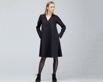 Black Linen Bell Dress With Long Sleeves / Loose Linen Wool Dress / Wide Maternity Dress / Midi Dress / Oversized Dress / Plus Size Dress