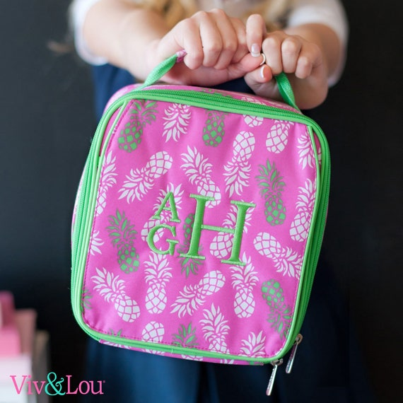 Monogrammed Kids Lunch Bag Personalized Insulated Lunchbox Back To School Pink Pineapple Lunch Tote Pineapple Pattern Highway12Designs