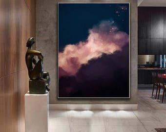 Cloud Painting Print, Cloud Print, Cloudscape Art Print, Large Wall Art, Abstract Wall Art, Modern Painting, Cloud Art