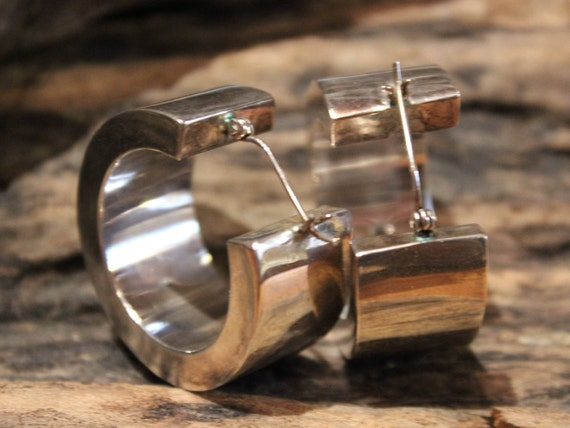 Large Vintage Contemporary Sterling Silver Earrings 925 Silver Chunky Hoop Earrings 24.7 Grams Large Silver Earrings Chunky Vintage Earrings