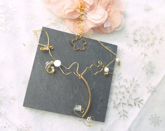 Gift st valentincollier gold and white, gold and white minimalist necklace, necklace art nouveau,