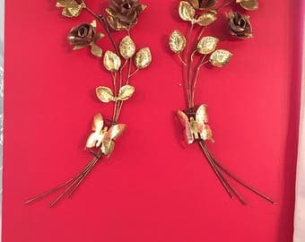 Brass Roses ~ Home Interiors ~ Brass and Copper ~ Set of Two ~ Rose Swag ~ Wall Decor ~ Vintage