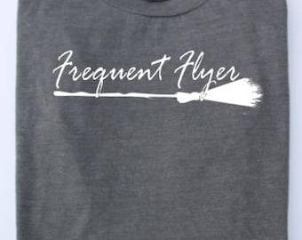 Witch Shirt,Frequent Flyer, Wiccan Shirt, Pagan Shirt, Halloween Shirt