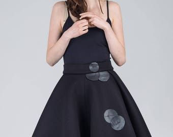 Woman's black skirt / Black neoprene high waist skirt / Leather detail voluminous skirt / Asymmetric black skirt / Fasada 1794