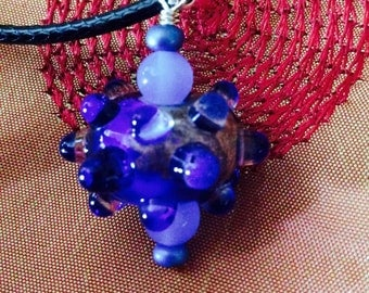 Handmade Sterling Silver, Lampwork Glass Bead and Chalcedony Pendant and Cord