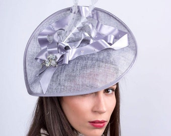 Gray Derby fascinator, Royal ascot headpiece, Kentucky derby, Wedding hat, Church hat, Couture  Hat, Melbourne cup fascinator, lace hat