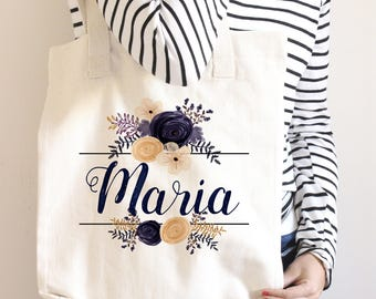 Floral Personalized Tote Bag, Personalized Bridesmaid Bags, Bridal Gift, Bridal Set, Bridal Party Ideas, Bridal Shower Ideas, Navy Wedding