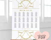 Gold Art Deco table seating plan template. Tables or Alphabetical. Editable PDF. Edit in Acrobat Reader. 4 sizes A1 A2 18x24 24x36