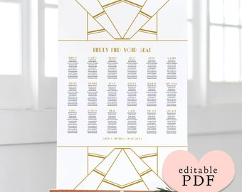 Gold Art Deco table seating plan template. Tables or Alphabetical. Editable PDF. Edit in Acrobat Reader. 4 sizes: A1, A2, 18x24, 24x36